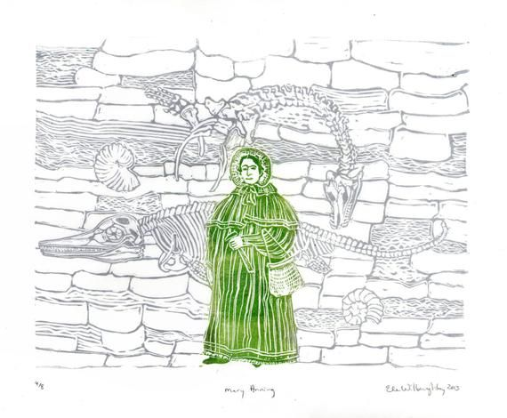 Mary Anning and Fossil Cliffs Linocut History of Paleontology, Women in STEM, Lino Block Print Scientist Portrait, Science, Dinosaur Fossils #historyofdinosaurs