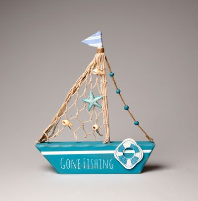 Gone Fishing Boat Decoration Bathroom Decorations Accessories Home Accessories Decorations Shop By Cate Beach Crafts Nautical Crafts Driftwood Crafts