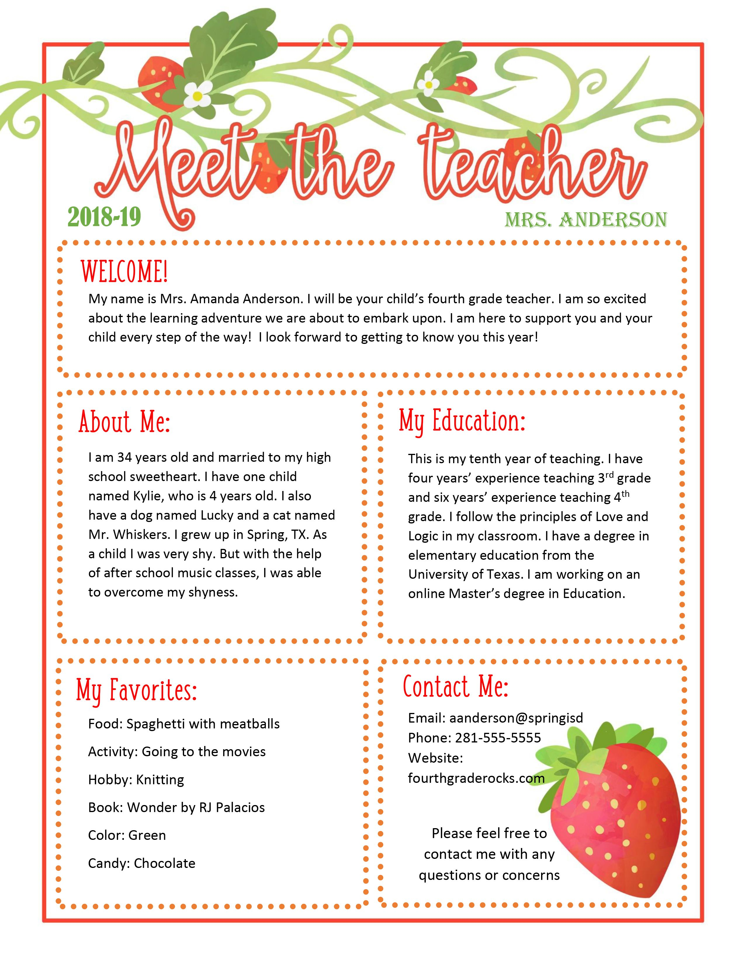 Meet The Teacher Strawberry Themed Newsletter Template Doc Is