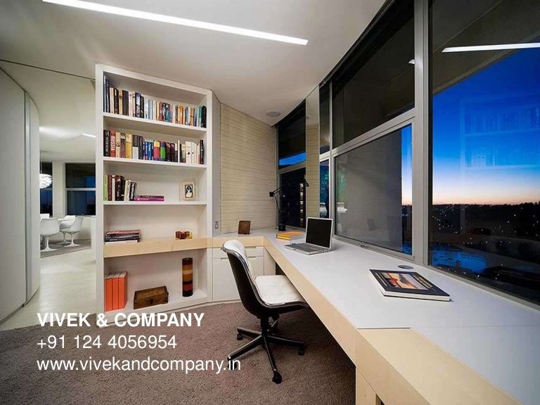 Modern Home Offices: Stunning Nice Modern Apartment Home Office Design Ideas  With Nice View And Bookcase Elegant Modern Home Office Desk Design Ideas  For ...