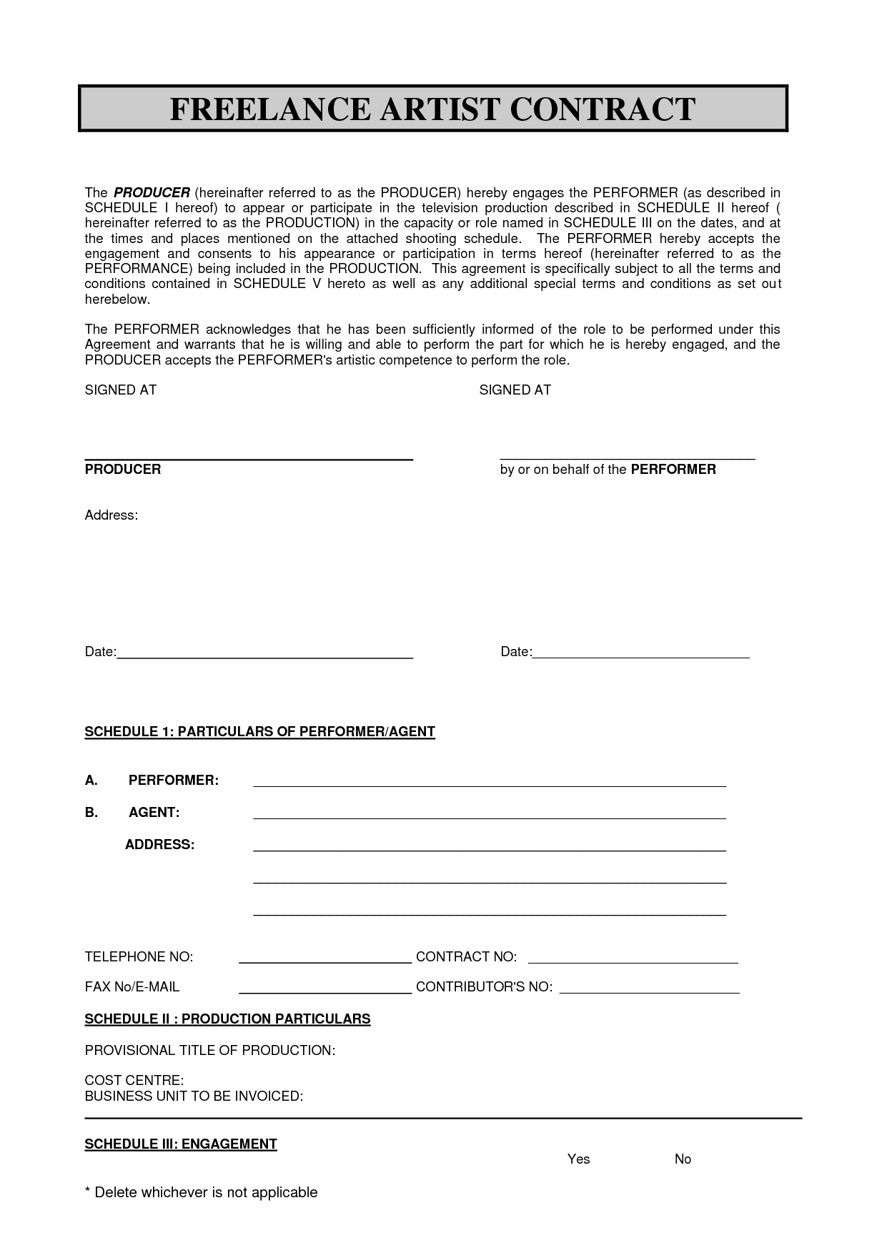 Sabc Contract Pdf  Freelance Artist Contract By Sdsdfqw