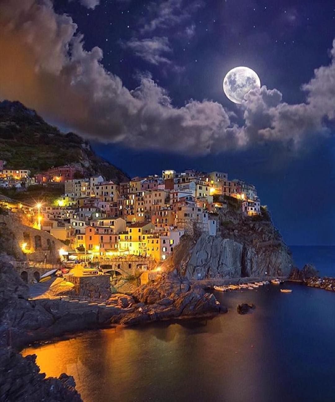 Cinque Terre, Italy By Night. Beautiful. @golden_heart Www