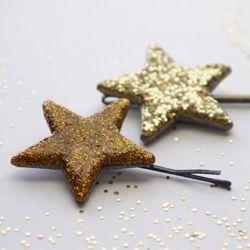 DIY Glittered Star Hair Pins