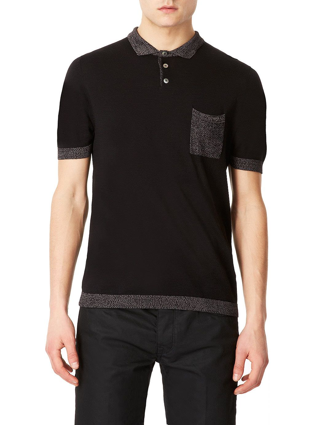 Grey Knitted Short Sleeve Polo Shirt, TopMan Lux Collection