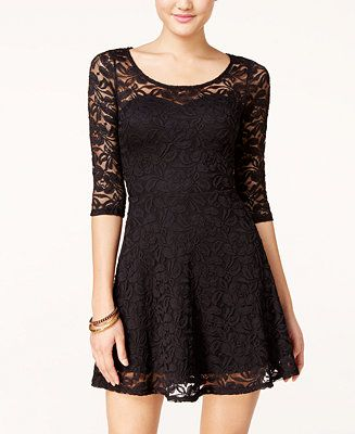 Material Girl Lace Illusion Skater Dress Cute And Stylish