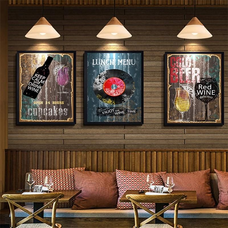 Rustic Restaurant Lunch Menu Poster Cafe Kitchen Wall Art Beer