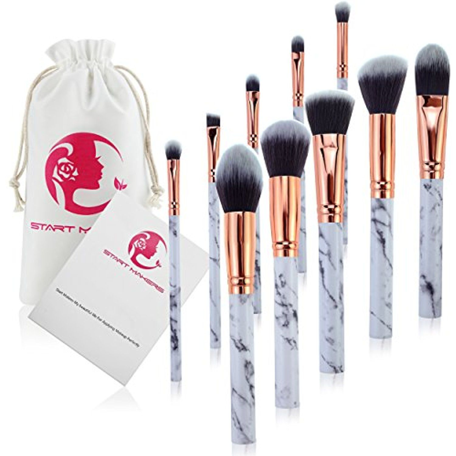 Makeup Brushes Start Makers 10 Pieces Marble Make Up Brushes Set Powder Blush Foundation Eye Shadow Eyebrow Bru Makeup Brush Set Eyebrow Shadow Eyebrow Brush