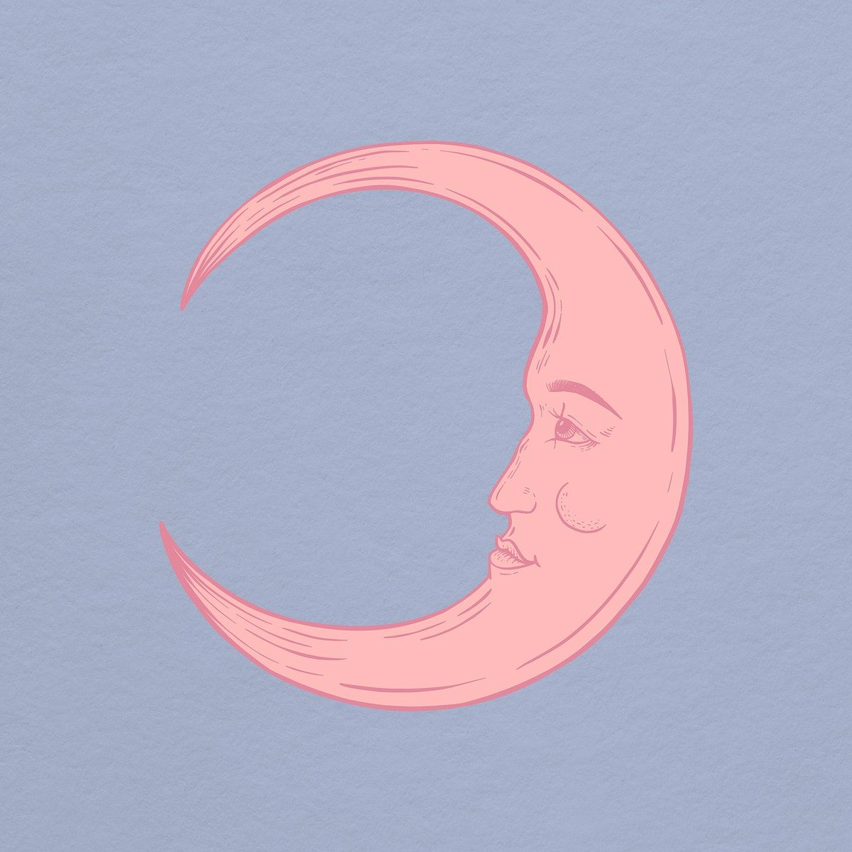 Download Premium Illustration Of Pink Crescent Moon Face Sticker Overlay In 2020 Face Stickers Moon Face Illustration