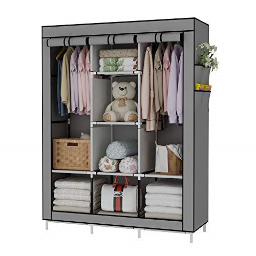 Portable Wardrobe Closet Clothes Organizer No Woven Fabric Cover With Storage Closet Organizers In 2020 Portable Wardrobe Portable Wardrobe Closet Wardrobe Closet