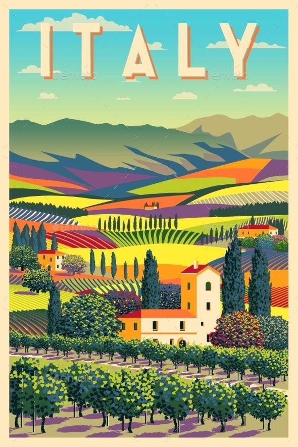 Rural Landscape in Sunny Day in Italy
