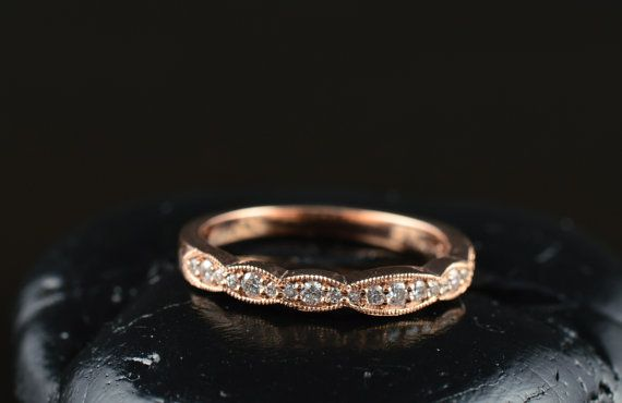Caroline Wedding Band  Rose Gold and by DiamondDoveJewelry on Etsy