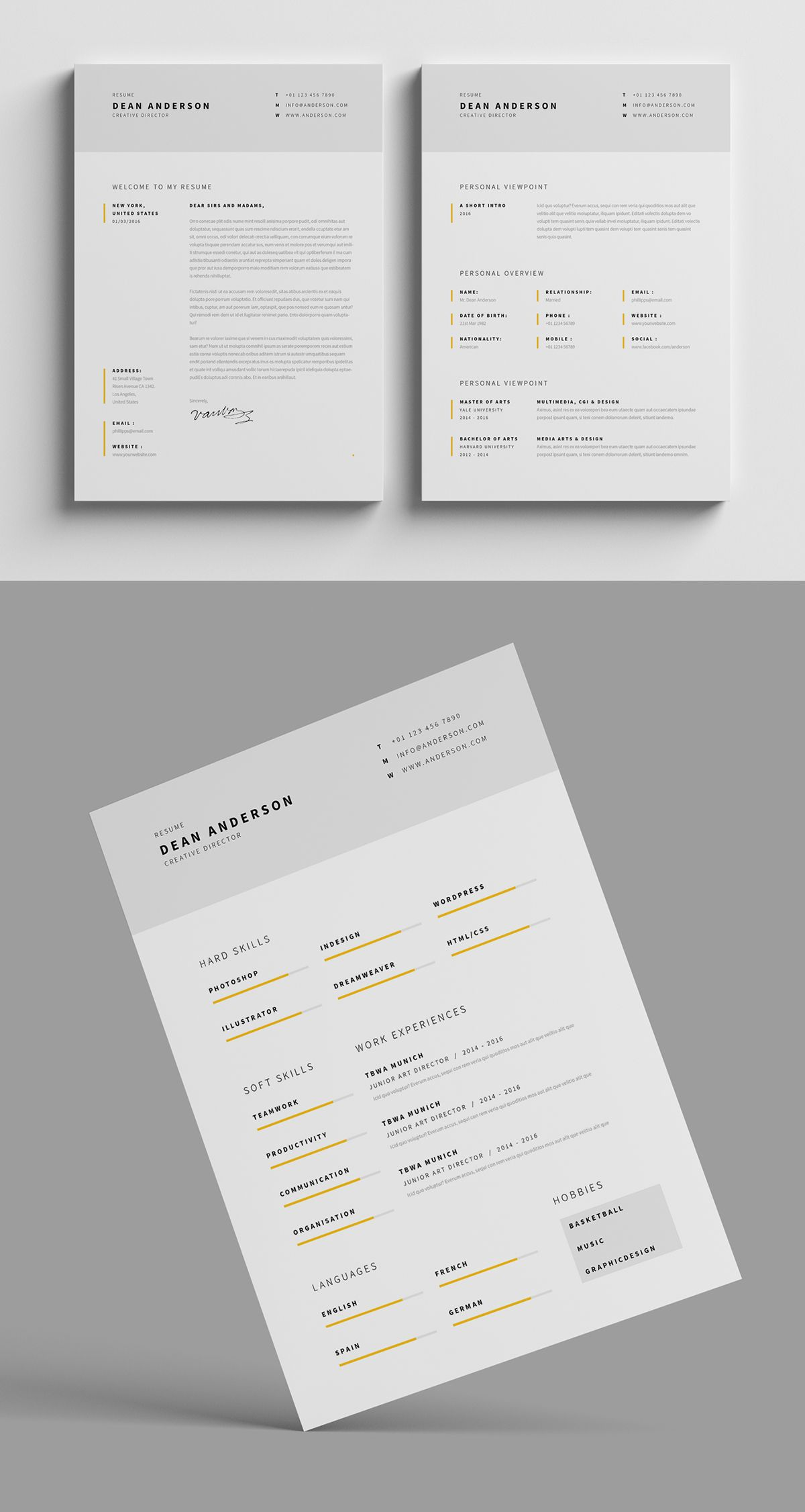 Https Www Behance Net Gallery 34308511 Minimal Resume Cv