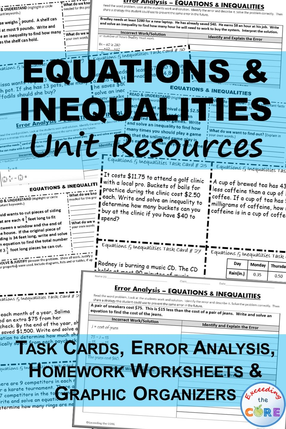EQUATIONS & INEQUALITIES Task Cards, Error Analysis, Graphic ...
