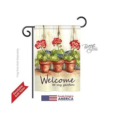 """TwoGroupFlagCo Welcome to My Garden 2-Sided Vertical Flag Size: 18.5"""" H x 13"""" W"""