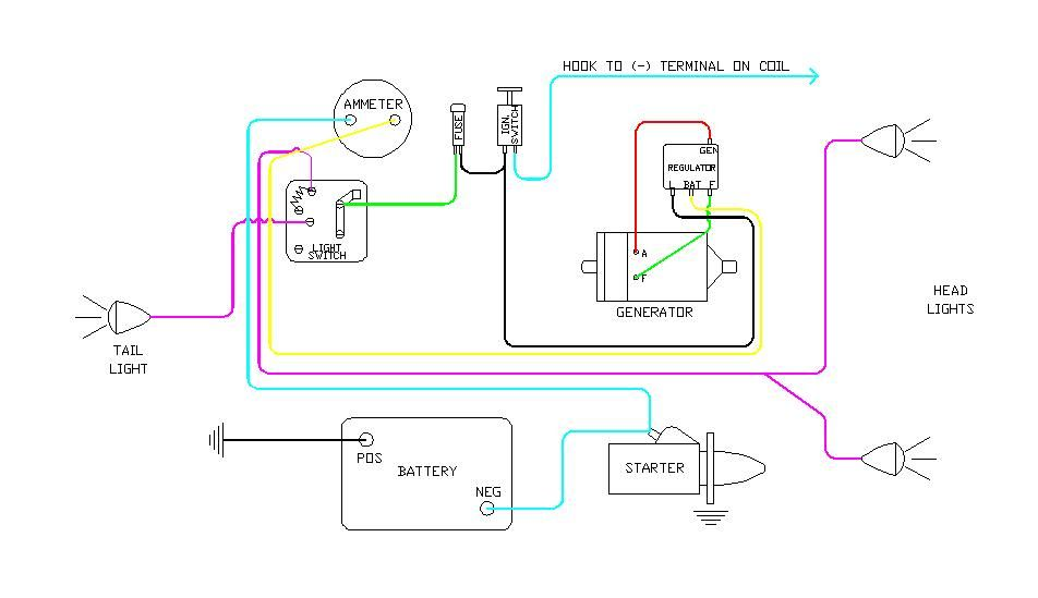 diagram of wiring on b farmall | later wiring diagram- 6 volt- battery  ignition- generator with voltge