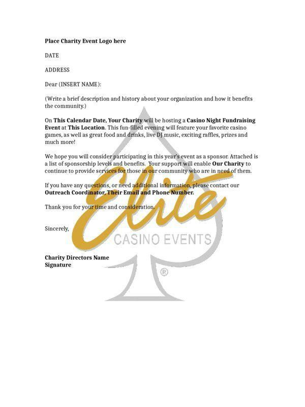 Sample of a Casino Night Fundraising Sponsorship Letter Charity