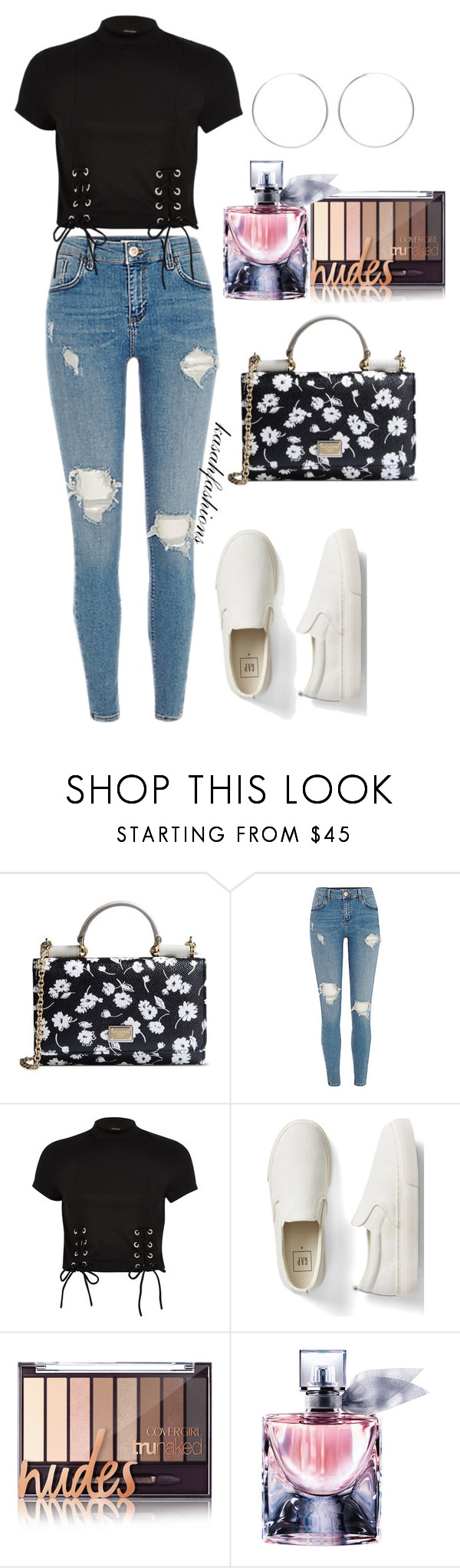 """""""casually perfect with floral bag"""" by kasahfashions on Polyvore featuring Dolce&Gabbana, River Island, Gap and Lancôme"""