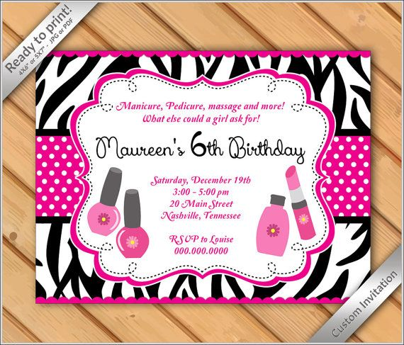 Spa Party Invitations zebra for Girls Makeover or Manicure Pedicure