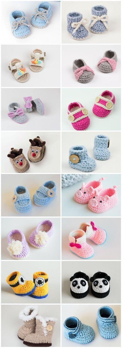 16 Free Crochet Baby Booties   Crochet   Pinterest   Crochet baby ...