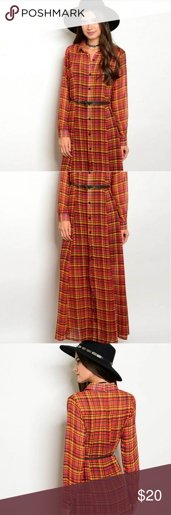 Long sleeve button down plaid maxi boutique in my posh picks
