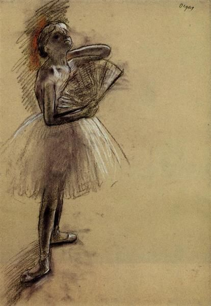 Dancer with a Fan, 1880 by Edgar Degas. Impressionism. genre painting