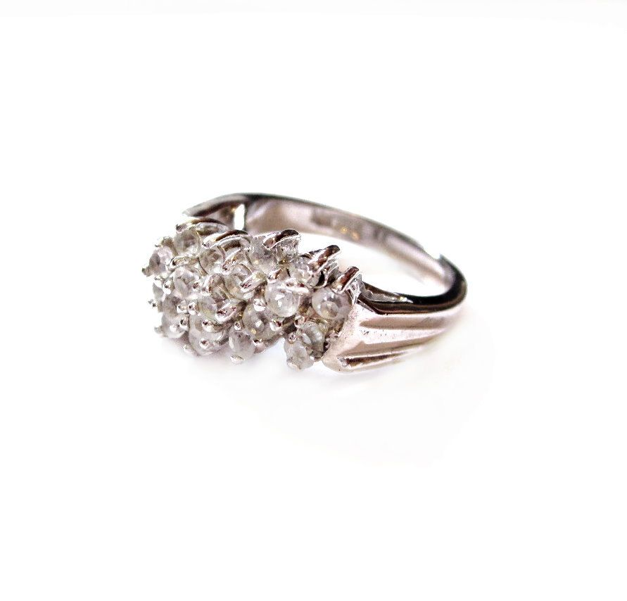 White Gold Electroplated Crystal Rhinestone Ring