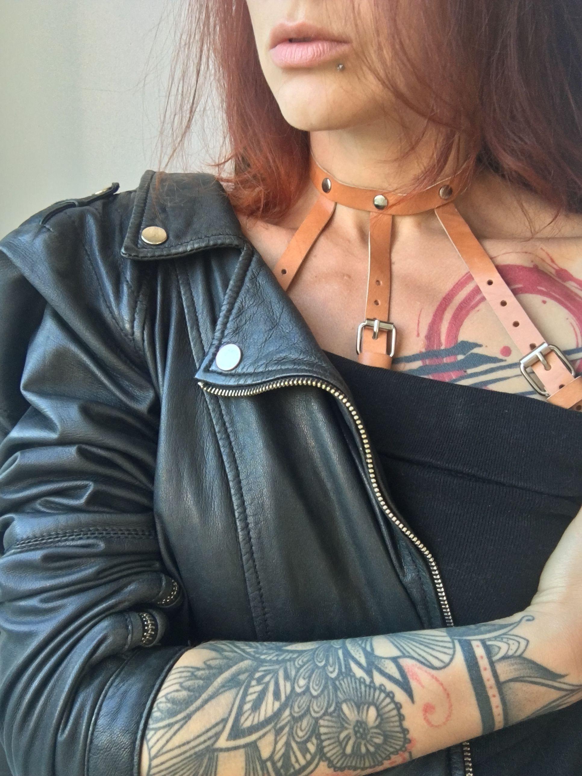 d13f98ebd3 Beige Leather Harness Bra Bondage Body Harness Open Bra Harness Chest  Harness Plus Size Harness for