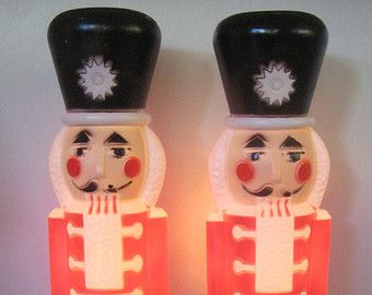 "2 Vintage Blow Mold Nutcracker Soldiers 30"""