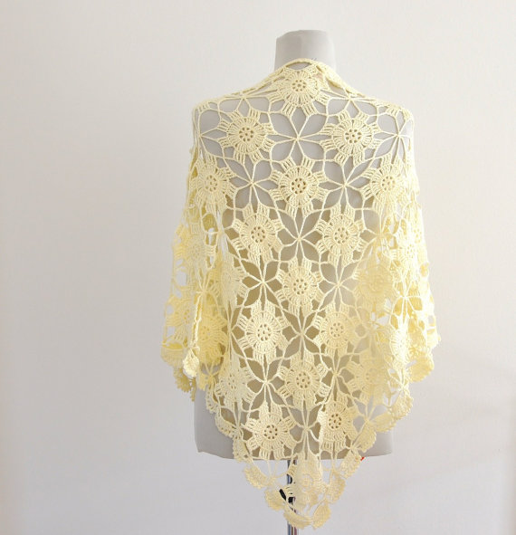 Crochet Scarf Shawl Weddings Shawl Ivory Cream Cotton Unique ...