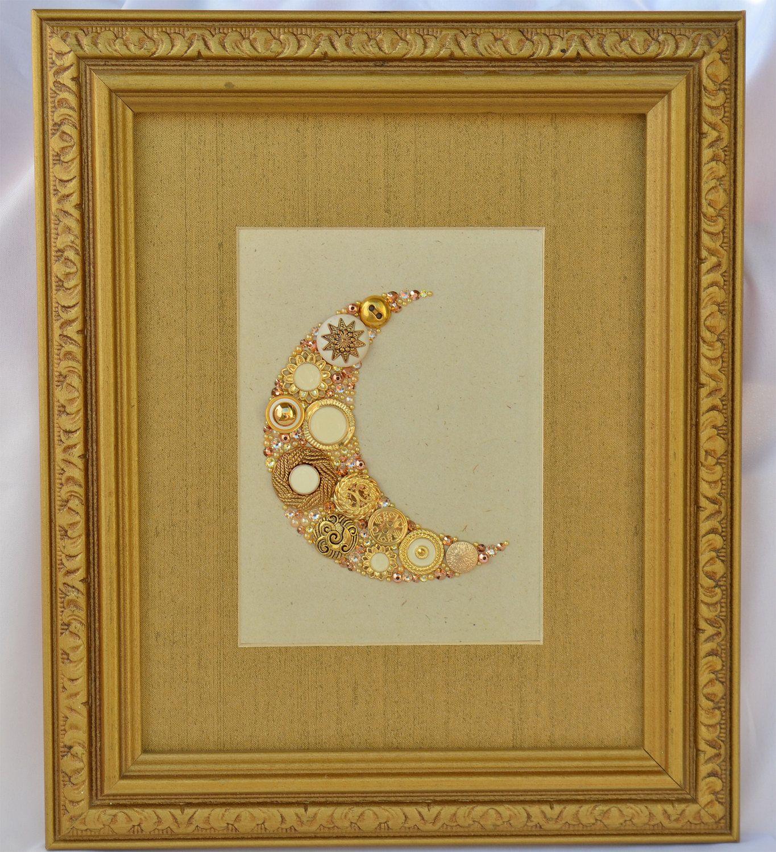 Framed Button Art - Golden Moon - Elegant Home Decor, Celestial ...
