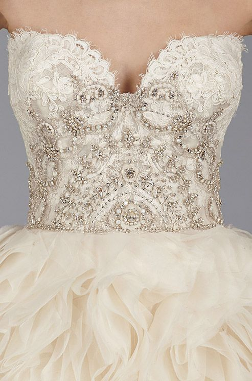 How stunning are those beaded details on this Lazaro ombre blush ...