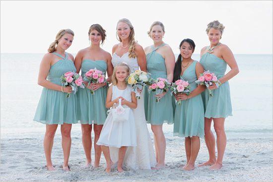 Florida Wedding On Captiva Island | Teal bridesmaid dresses, Teal ...