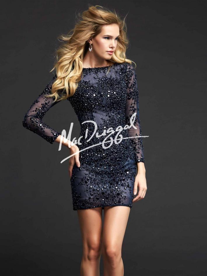 Long sleeve midnight blue cocktail dress