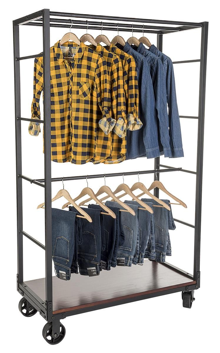 Rolling clothing rack with wooden shelves u removable hanging