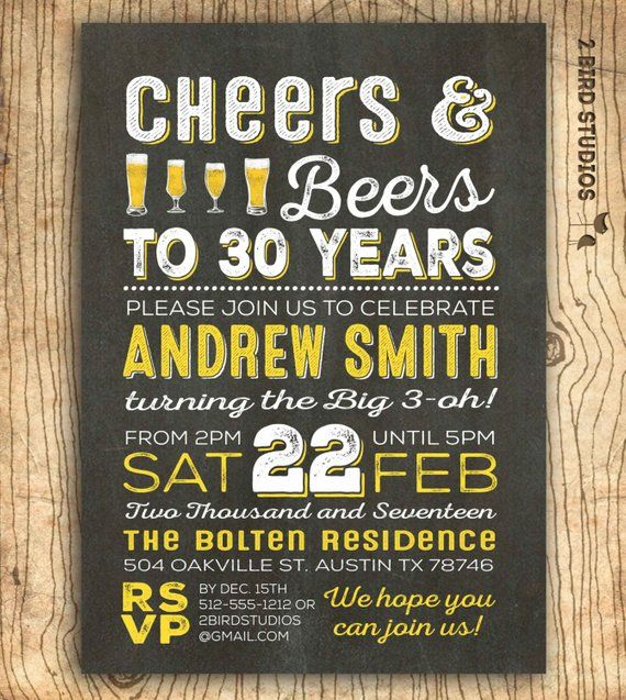 Cheers And Beers To 30 Years Invitation
