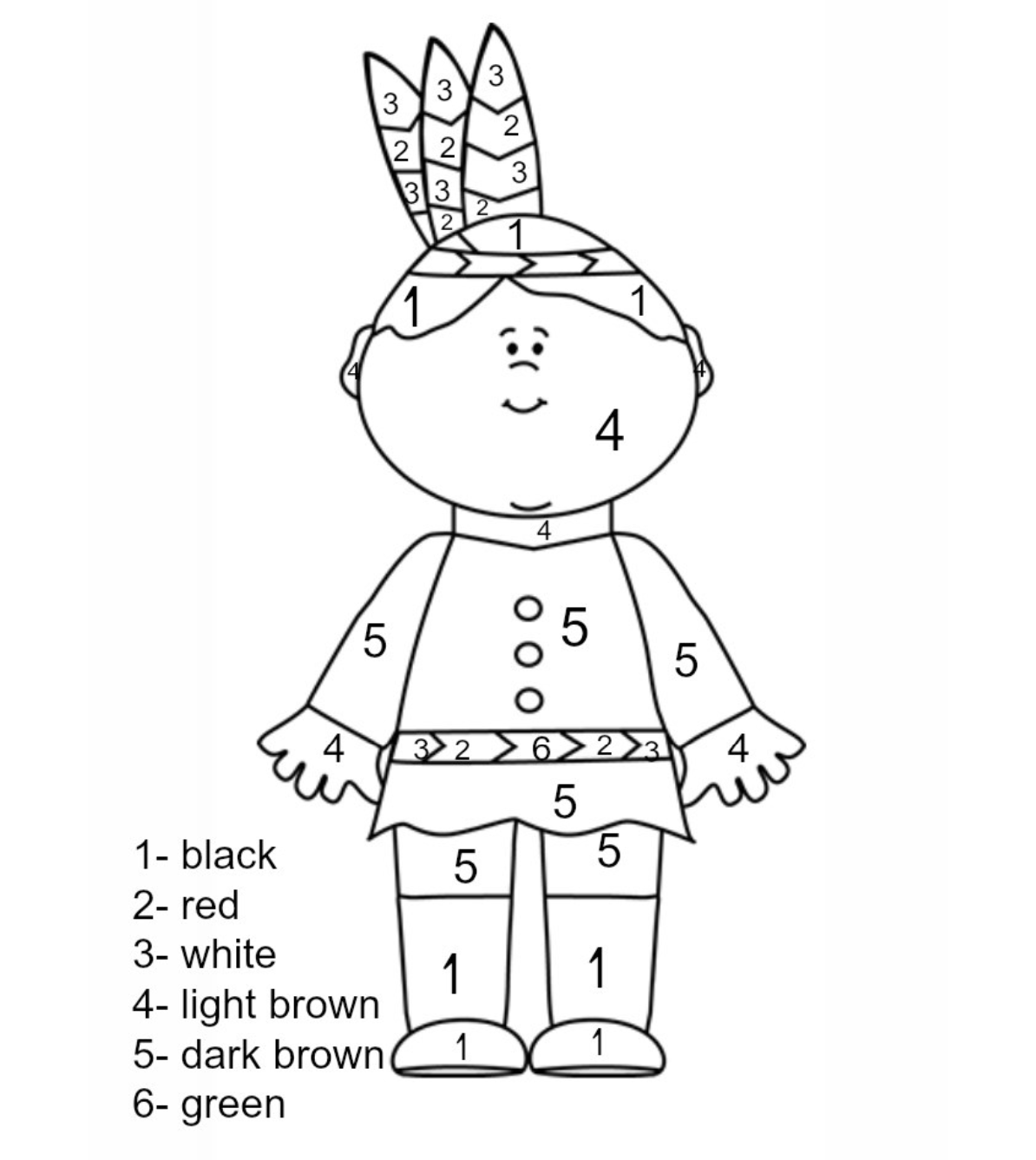 Thanksgiving Indian Color by Number Childrens Crafts