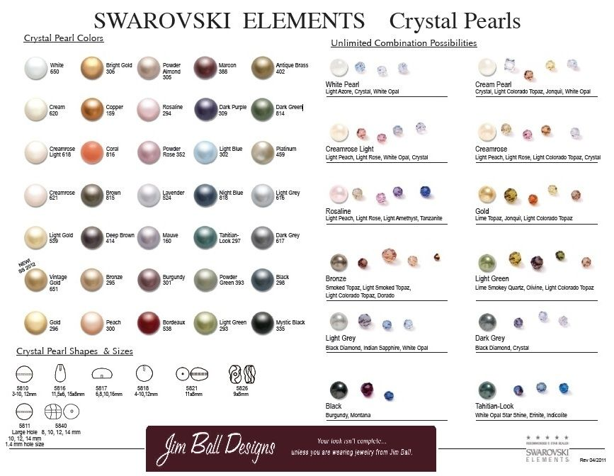 Swarovski Crystals And Pearl Color Chart