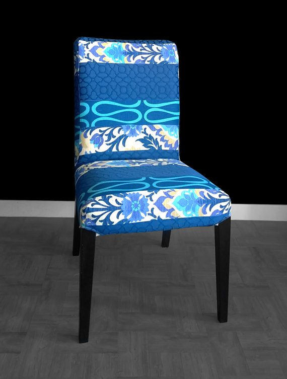 Blue Floral IKEA HENRIKSDAL Dining Chair Cover   Dining ...