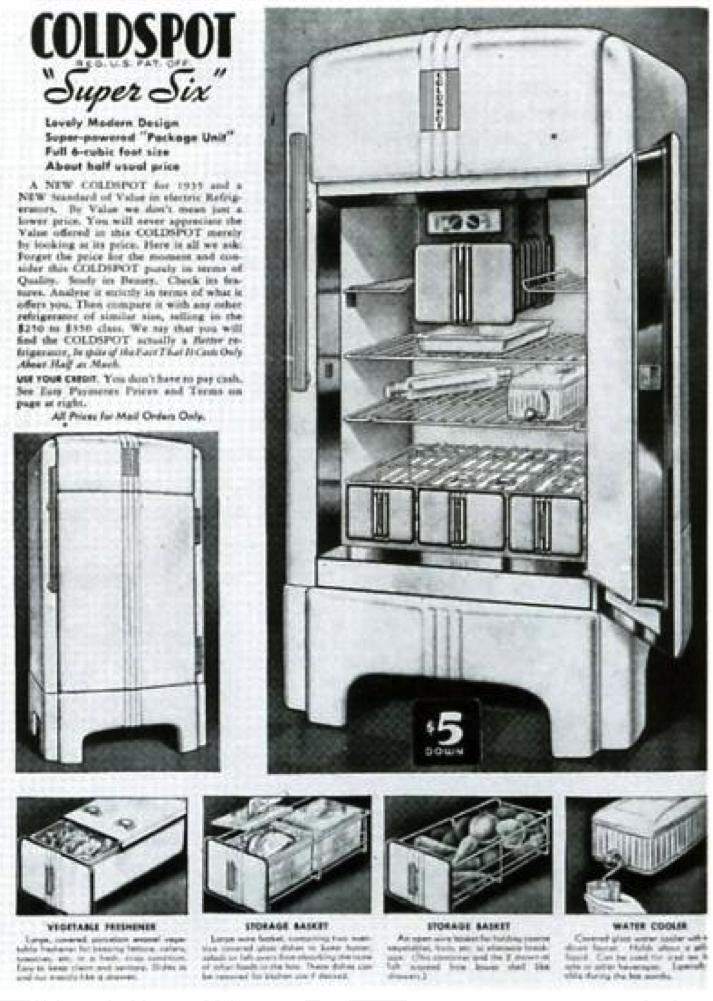 En 1934 Sears Roebuck Company Commande A Raymond Loewy Le Design Du Refrigerateur Coldspot Les Ventes Grimperont Raymond Loewy Design Industriel Design