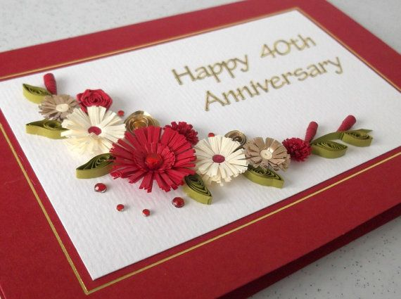 Quilled 40th ruby wedding anniversary card by PaperDaisyCards