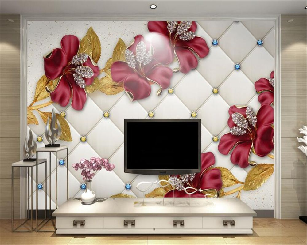 Design Wallpaper Cool Metal Texture Diamond 3D Jewelry TV Background Wall livingroom