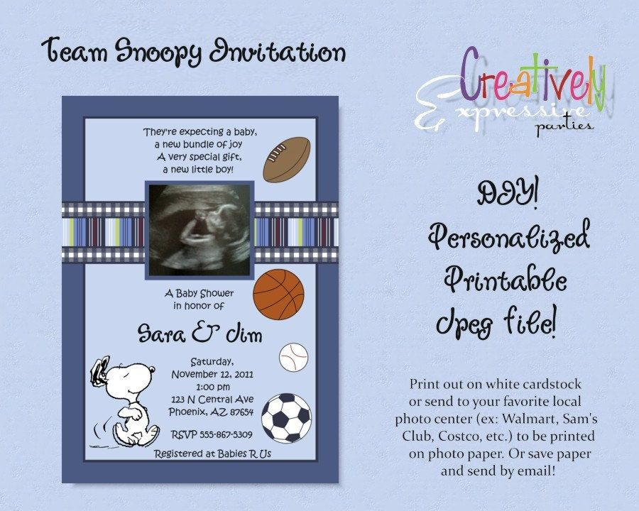 Custom Team Snoopy Baby Shower Invitation. $16.00, via Etsy. | Baby ...