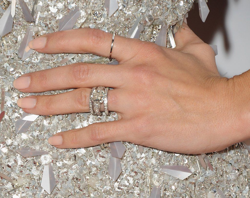 She Often Wore Her Engagement Ring In Between 2 Thin Diamond Bands