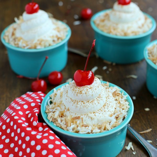 Served in pretty ramekins, these Individual Coconut Tres Leches Cake Cups are a tasty, fun treat!