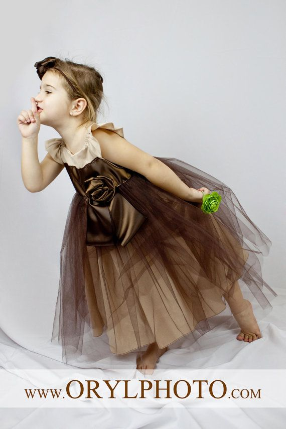 Beautiful Natural Grey Ruffled Dress with Flowers in Beige is made with cotton muslin and Chocolate tulle.