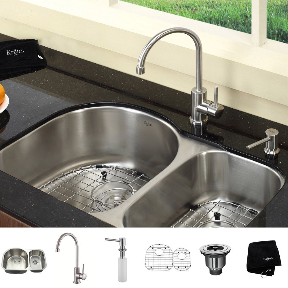 Kraus 30 Inch Undermount Double Bowl Stainless Steel Kitchen Sink With Kitchen Bar Faucet And Soap Dispenser In Stainless Steel Com Imagens Gavetas