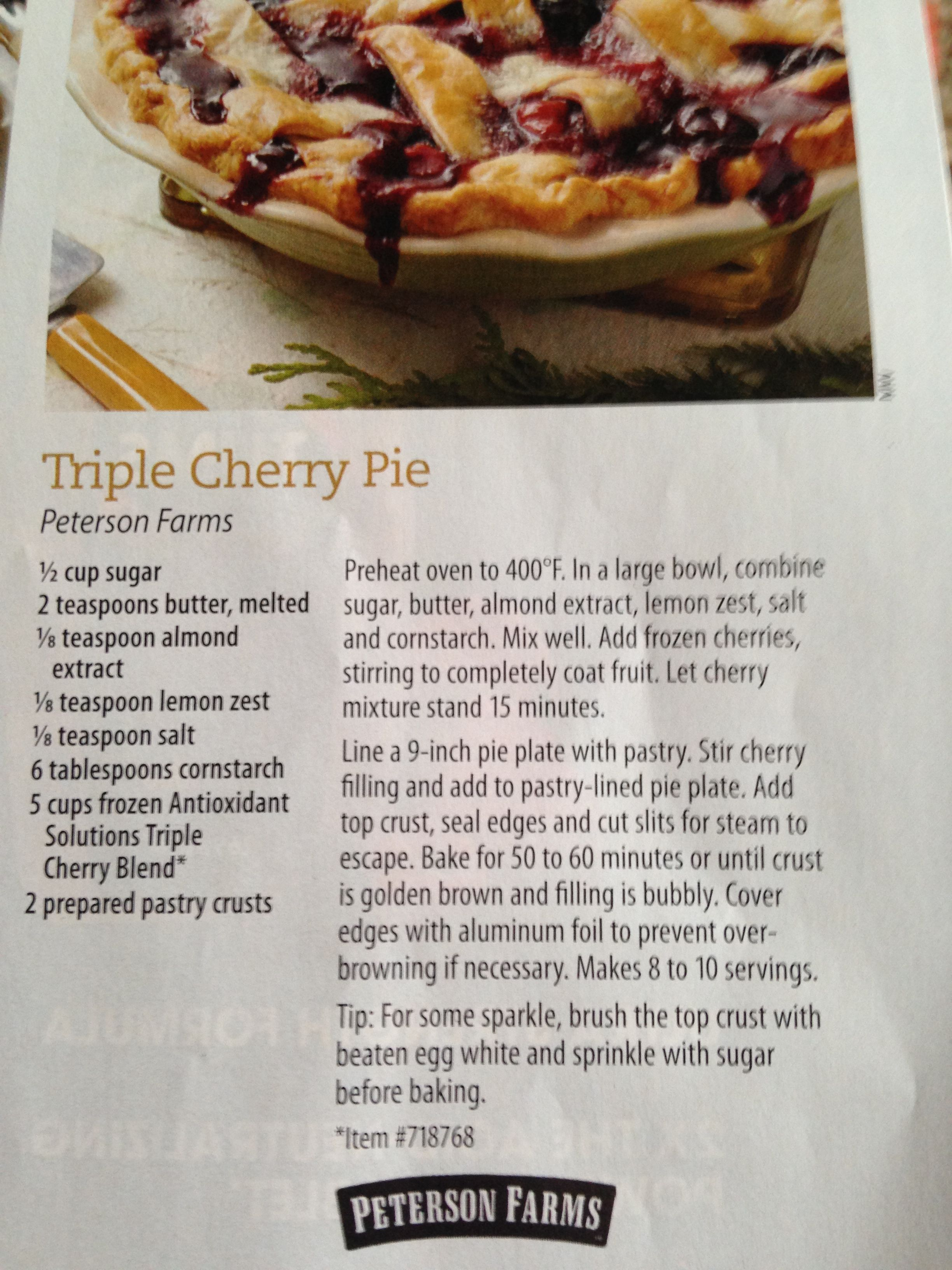 Triple Cherry Pie From Costco Magazine With Images Frozen