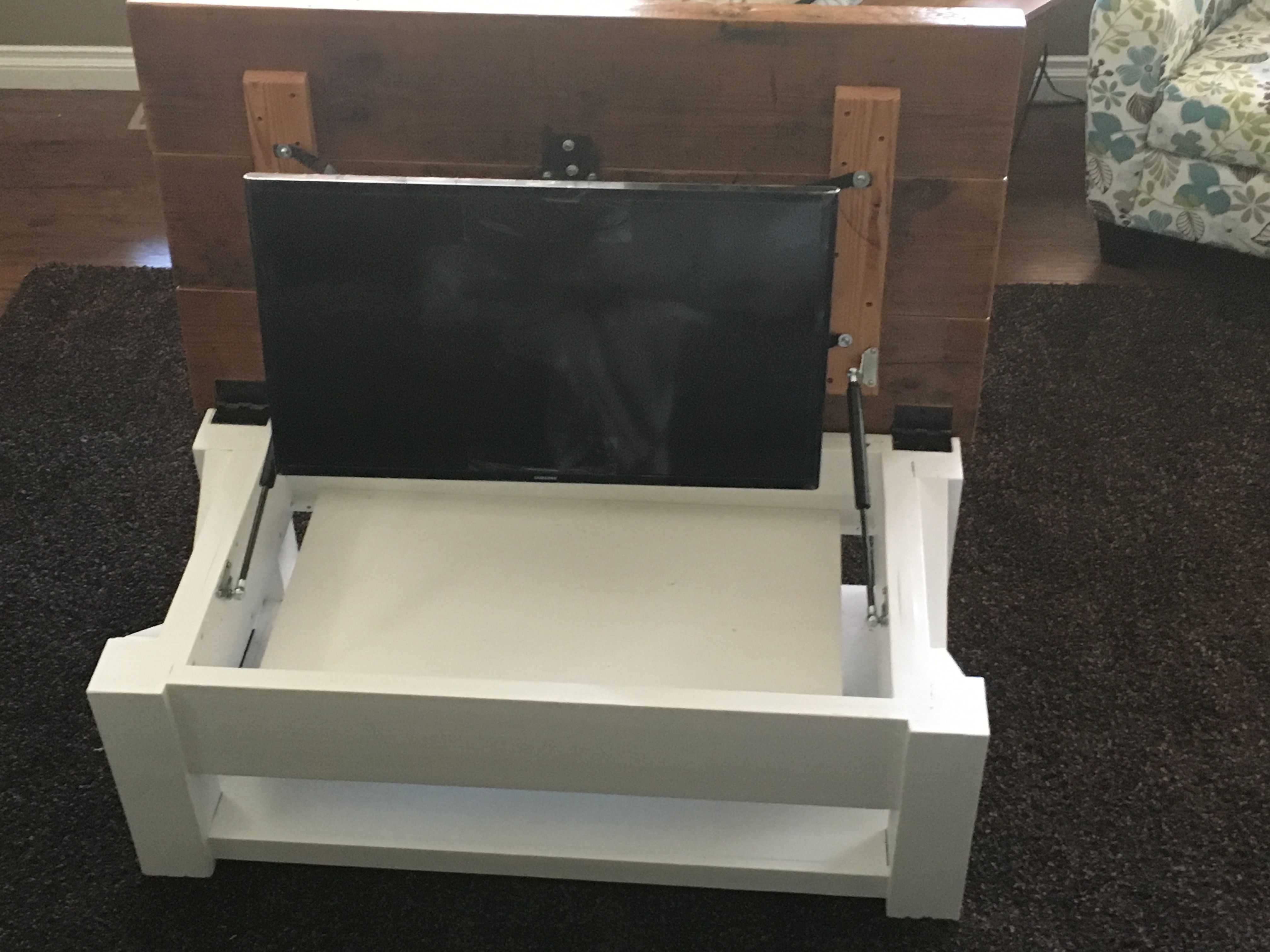 Tv Hidden In Coffee Table This Is A Custom Built Coffee Table Made To My Spec By