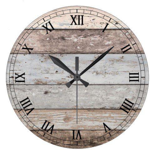 Reclaimed Wood Look Trendy Large Clock Zazzle Com In 2021 Oversized Wall Clock Wall Clock Black Wall Clock