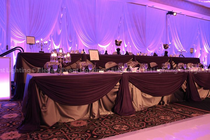 Burgundy And Grey Head Table Decorations
